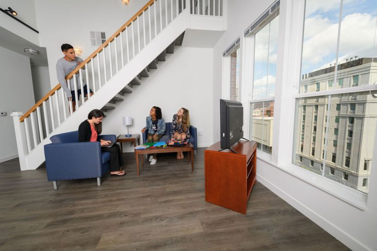 Students in the new Stamford residence hall