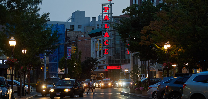 A view of the Palace Theatre in downtown Stamford