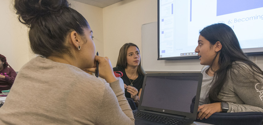 Students participating in a group discussion at UConn Stamford